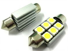 M-LINE žarnica LED 12V C5W 36mm 6xSMD 5050, alu-ohišje, bela, par