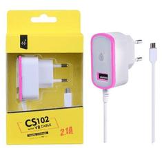 Aligator síťová nabíječka PLUS CS102, konektor micro USB + 1x USB, 2,1 A, bílá s růžovým okrajem