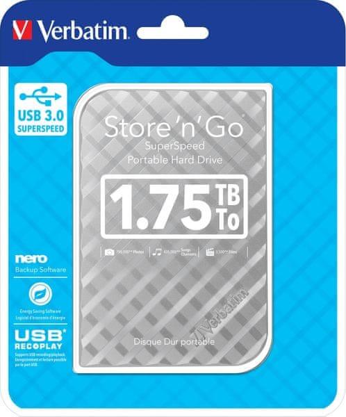 "Verbatim Store 'n' Go GEN2 1,75TB / Externí / USB 3.0 / 2,5"" / Silver (53209)"