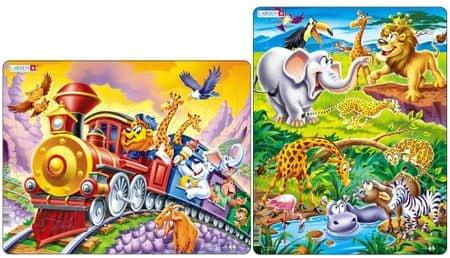 LARSEN Cirkuszi vonat és Szafari Puzzle szett