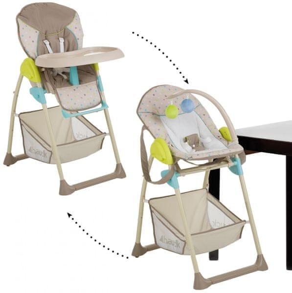 Hauck Sit'n Relax jídelní židlička 2v1, 2017 - Multi Dots Sand