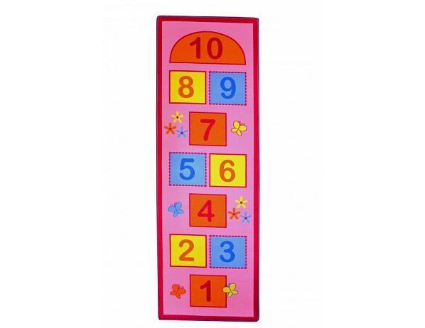 Dětský koberec Skákací panák růžový, motýly 67x200 cm