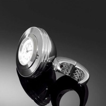 Highway-Hawk hodinky SPACE na riadidlá o priemere 25/32mm, chróm/biely ciferník