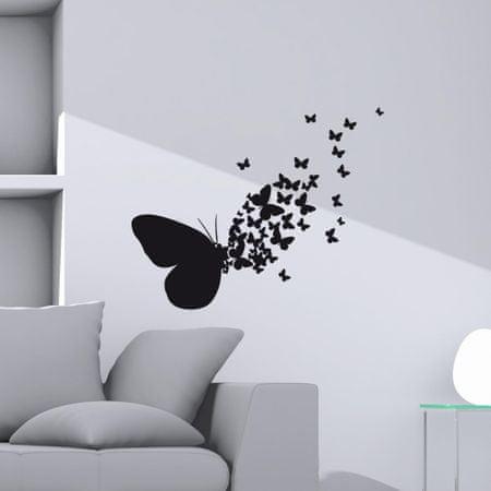 Crearreda stenska nalepka Črni metulji M, 2 lista