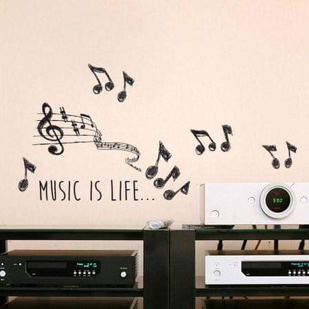 Crearreda stenska nalepka Music is life napis M