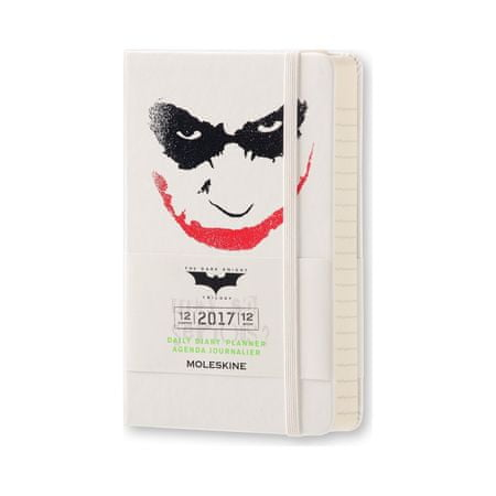 Moleskine žepni dnevni planer Batman Limited Edition 2017 - 12M s trdimi platnicami, beli
