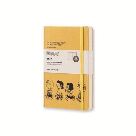 Moleskine veliki dnevni planer Peanuts Limited Edition 2017 - 12M s trdimi platnicami, rumen