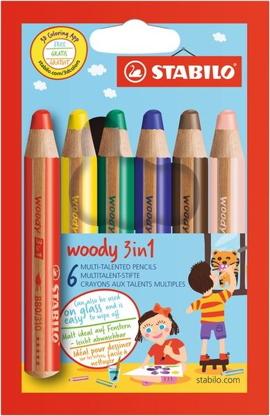 Pastelky Stabilo WOODY 3 v 1 sada s ořezávátkem 6 ks