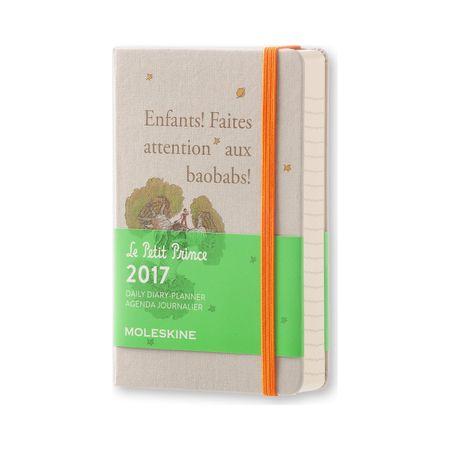 Moleskine žepni dnevni planer Mali Princ Limited Edition 2017 - 12M s trdimi platnicami, siv