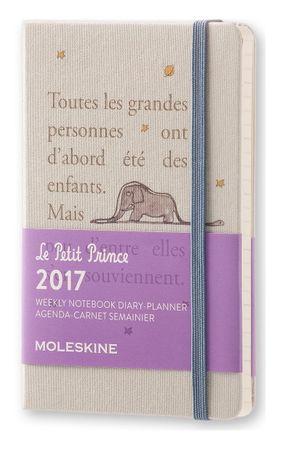Moleskine žepni tedenski planer Mali Princ Limited Edition 2017 - 12M s trdimi platnicami, siv