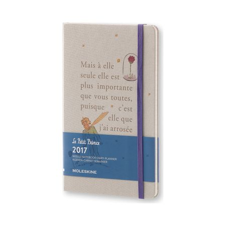 Moleskine veliki tedenski planer Mali Princ Limited Edition 2017 - 12M s trdimi platnicami, siv
