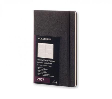 Moleskine tedenski planer 2017 - horizontalna razporeditev, 12M s trdimi platnicami, črn