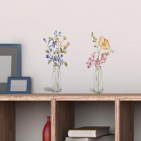 Crearreda stenska nalepka Steklenice s cvetjem S