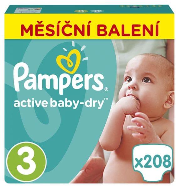 Pampers Pleny Active Baby 3 Midi (5-9kg) Měsíční balení - 208 ks