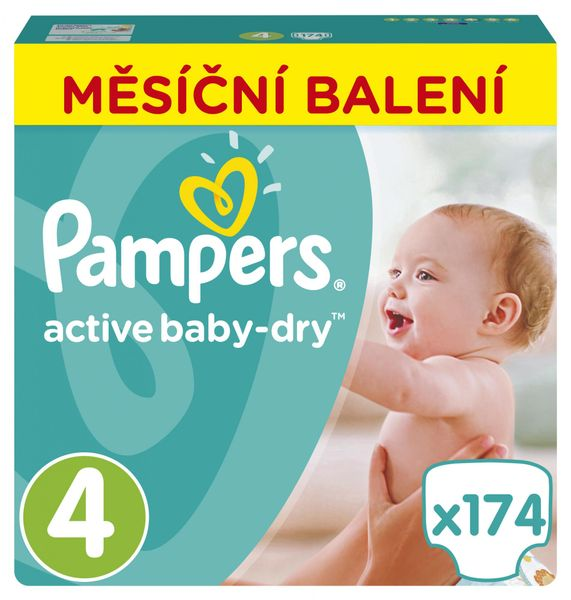 Pampers Pleny Active Baby 4 Maxi (8-14kg) Měsíční balení - 174 ks