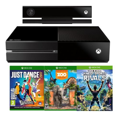 1aec6d733 Microsoft Xbox One 500GB so senzorom Kinect + Just Dance 2017 + Zoo Tycoon  + Kinect Sports Rivals - Alternatívy   MALL.SK