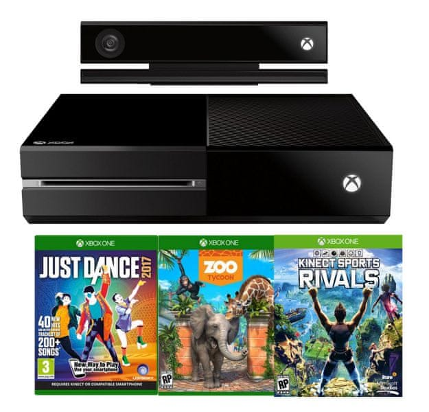 Microsoft Xbox One 500GB se senzorem Kinect + Just Dance 2017 + Zoo Tycoon + Kinect Sports Rivals