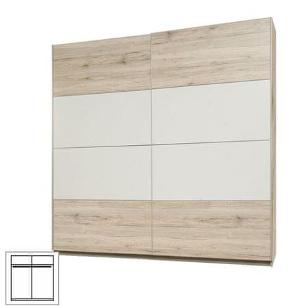 Skriňa vešiaková, s posúvnymi dverami, dub pieskový/biela, VALERIA