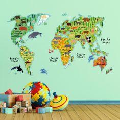 Crearreda otroška dekoracija Zemljevid sveta, XL