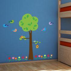 Crearreda samolepilna stenska dekoracija, XL, drevo, ptički in rožice