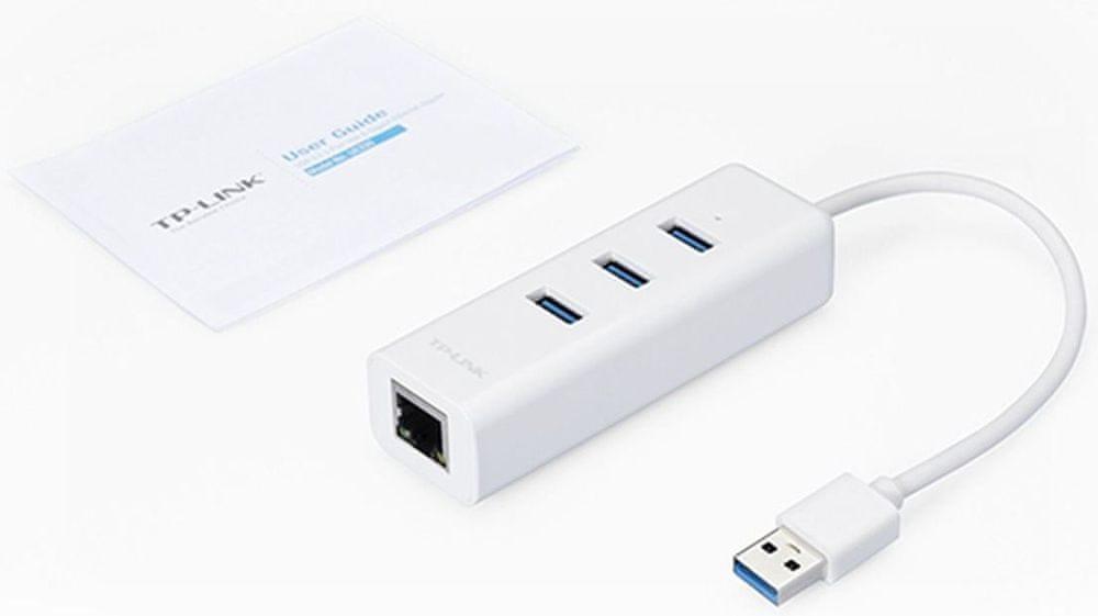 TP-Link UE330 USB 3.0 to Gigabit ethernet RJ45 10/100/1000Mbps, 3x USB hub