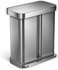 Simplehuman Pedálový odpadkový koš na tříděný odpad 58 l (24+34 l), matná nerez ocel