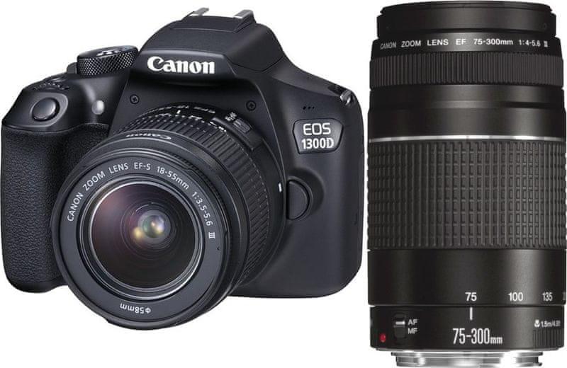 Canon EOS 1300D + 18-55 DC + 75-300 DC + 8 GB karta, brašna, 100GB Irista + 1000 Kč od Canonu zpět