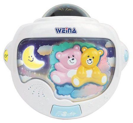 Weina Teddy Twins -muzyczna lampka nocna z projektorem