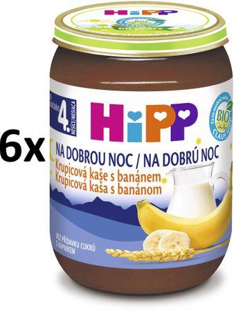 HiPP BIO Kaše na dobrou noc krupicová s banánem - 6x190g