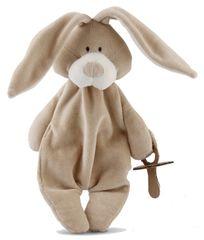 Wooly organic Usínáček s držákem dudlíku Bunny