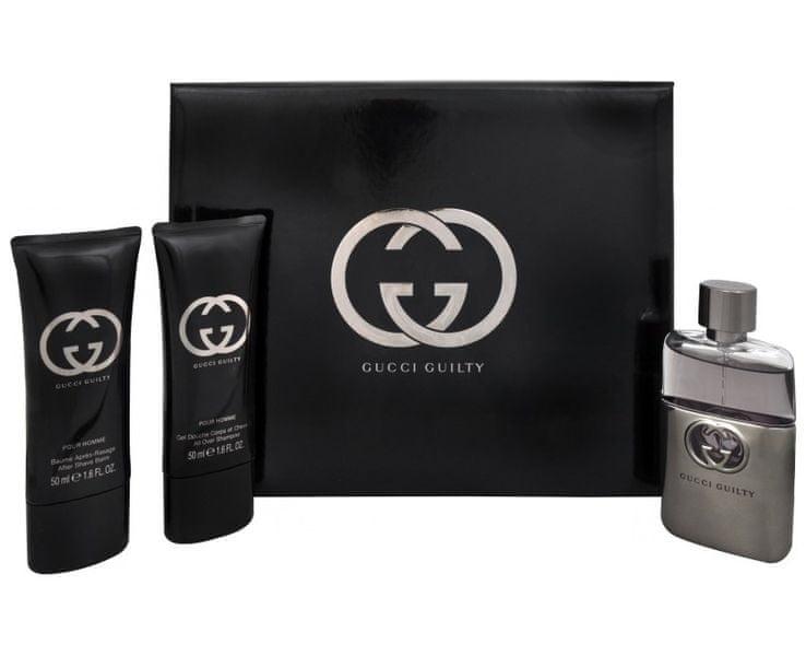 Gucci Guilty Pour Homme - toaletní voda s rozprašovačem 50 ml + balzám po holení 50 ml + sprchový gel 50 m