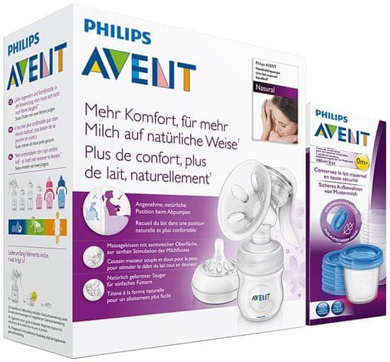 Philips Avent Odsávačka mater. ml. Natural so zásobníkom 125 ml + VIA poháriky 5 ks