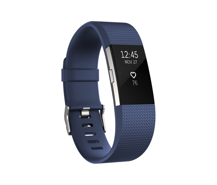 Fitbit Charge 2, Blue/Silver, Large