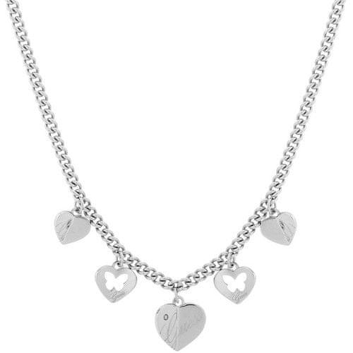 Guess Ocelový náhrdelník s přívěsky USN11109