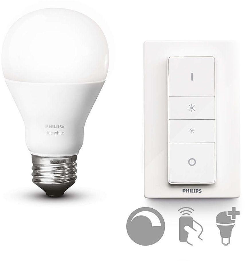 Philips Hue LED Bulb E27 DIM 9,5W 60W Teplá bílá 800lm