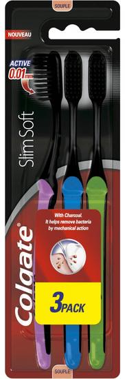 Colgate Slim Soft 3-pack Charcoal zubní kartáčky