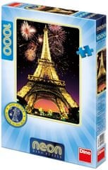 Dino puzzle Noční Eiffelovka 1000D neon