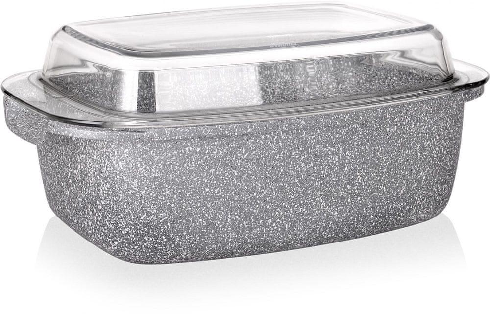 Pekáč Banquet Granite se skleněným víkem 5,7 l