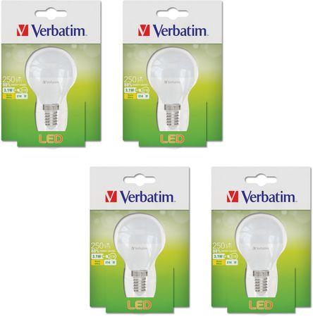 Verbatim E14, 3,1 W, 250 lm, LED izzó, 4 db