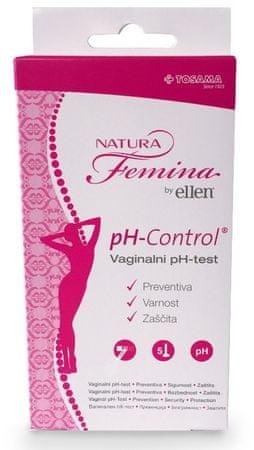 TOSAMA Natura Femina vaginalni test, by Ellen, pH - control, 5 kosov