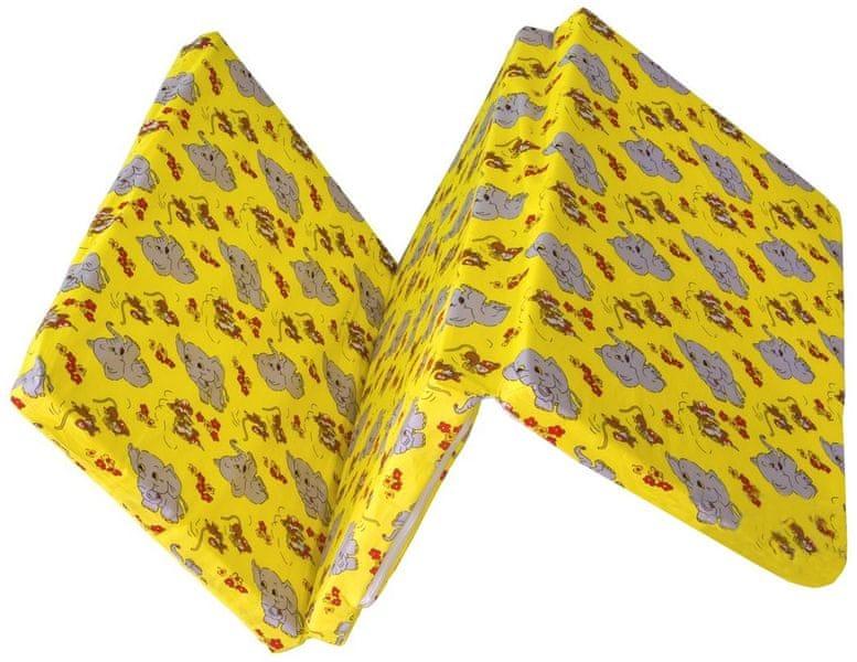 Kvalitex Skládací matrace do postýlky, Slůňata žlutá