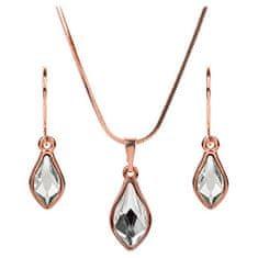 Troli Bronzová sada náušnic a náhrdelníku Flame Crystal