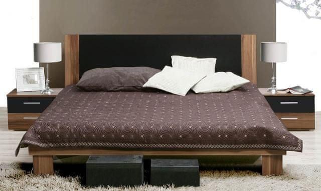 HELEN, postel 180x200 cm s nočními stolky, ořech/černá