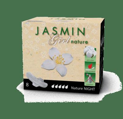 TOSAMA Jasmin higienski bombažni vložki Girl Nature Night, 8 kosov