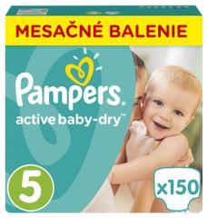 Pampers Plienky Active Baby 5 Junior (11-18kg) Mesačné balenie - 150 ks