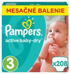 Pampers Plienky Active Baby 3 Midi (5-9kg) Mesačné balenie - 208 ks