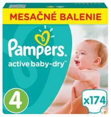 Pampers Plienky Active Baby 4 Maxi (8-14kg) Mesačné balenie - 174 ks