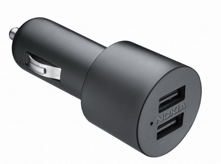 Nokia dvojitá USB nabíječka do auta DC-20, nové balení (1x micro USB, 1x 2 mm jack)