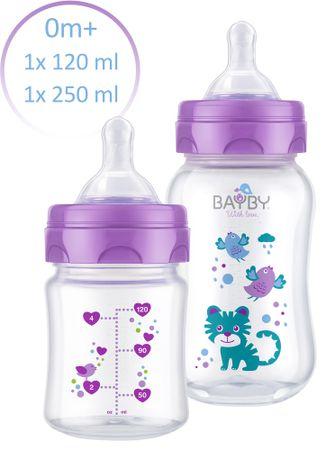 BAYBY Sada 2 kojeneckých lahví 0m+, fialová