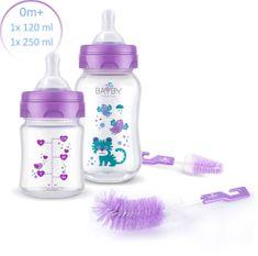 BAYBY Sada 2 kojeneckých lahví 0m+ s kartáčky